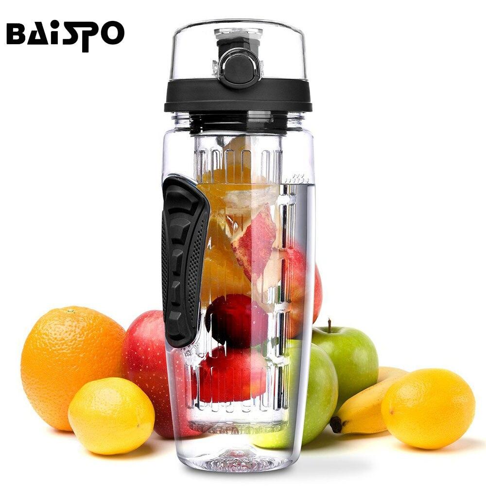 BAISPO 32 oz 900 ml BPA libre de fruta infusor jugo Shaker deportes limón botella de agua Tour senderismo portátil escalada campamento botellas