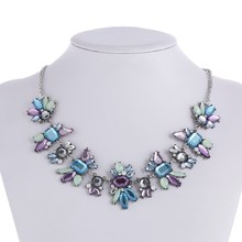 Fashion Luxury Created Colorful Crystal Flower Pendants Chocker Statement Necklace Fashion Jewelry Women Collar Accessories