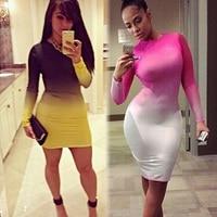 New Fashion 2015 Women Celebrity Sexy Long Sleeve Pink White Gradient Print Slim Bodycon Mini Dress