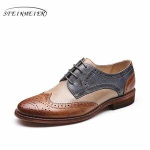 Image 5 - Yinzo Flats Oxford Shoes Mulher Sapatos Tênis de Couro Genuíno Das Senhoras das Mulheres Brogues Do Vintage Sapatos Sapatos Para As Mulheres Calçados Casuais
