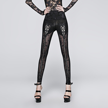 PUNK RAVE Women Gothic Lolita Rose Jacquards Perspective Leggings Steampunk Vintage Sexy Hollow Out Skinny Pants