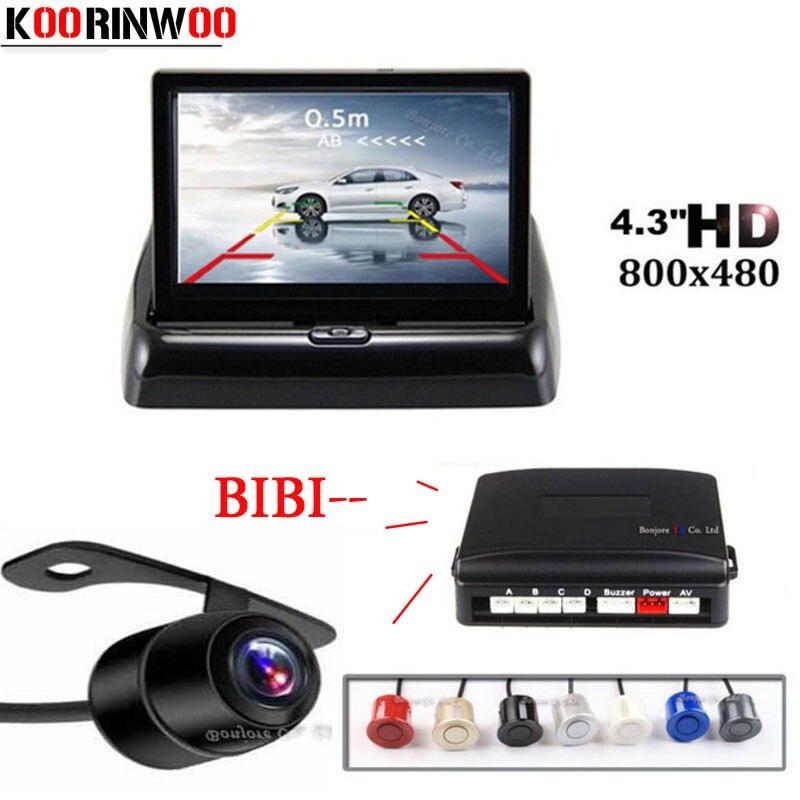 Koorinwoo AHD Car Parktronic Kit Video Parking Sensor 4.3 Inch TFT Monitor Car Rear View Camera Alert Black White Radar 4 System