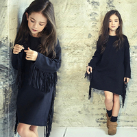 2017 Autumn Kids Black Tassel Dress Korean Style New Year's Product Cool Sassy Teens for Kids Age 5678910 11 12 13 14 Years old