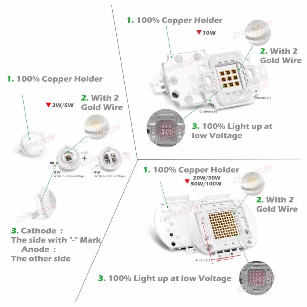 Светодиодный чип высокой мощности, ИК-излучатель 850nm 940nm 3W 5W 10W 20W 50W 100W, матрица лампы 850 940 nm для камеры ночного видения