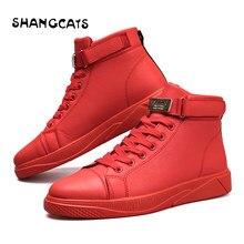 dd76d37e Тренд 2018 Мужская Вулканизированная обувь черная высокая шнуровка  Осень-Зима Повседневная парусиновая обувь для мужчин