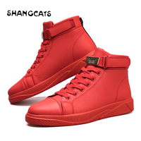 Trend 2018 Men's Vulcanized Shoes Black High Top Lace up Autumn Winter Casual Canvas Shoes For Men Boys Sneakers Without Lace