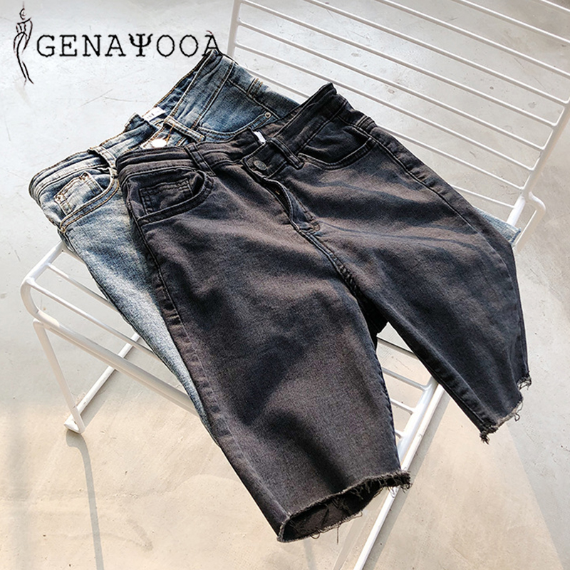 Genayooa Skinny Knee Length Denim   Shorts   Women Irregular Washing Denim   Shorts   Women Summer Streetwear High Waist Biker   Shorts
