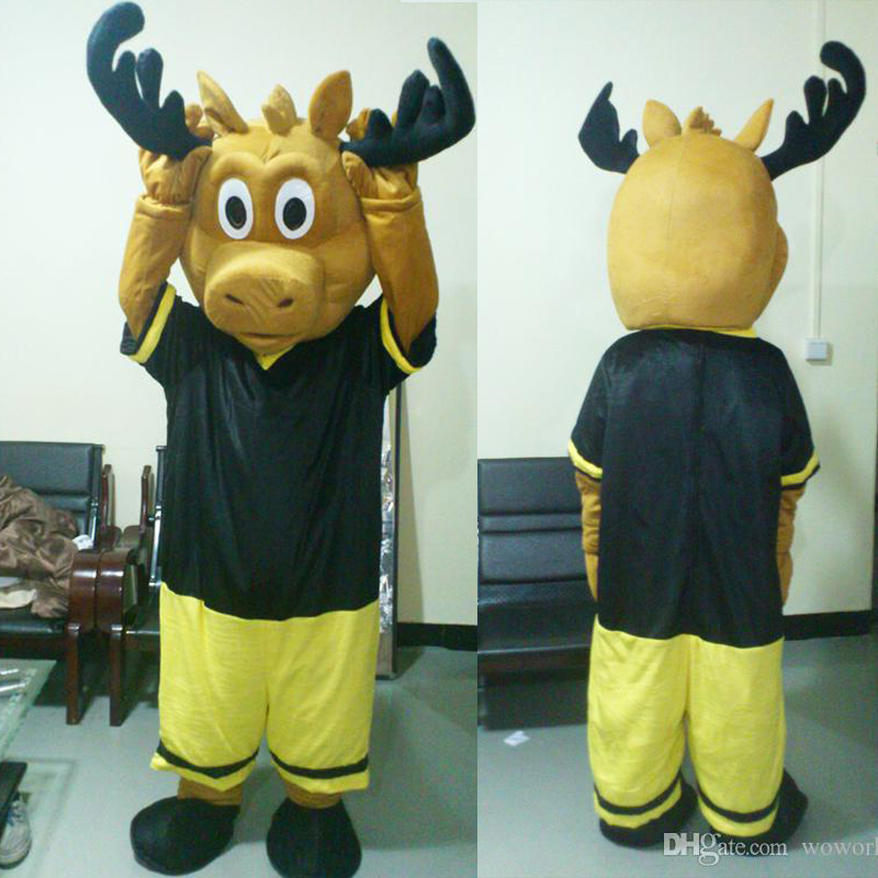 ohlees actual real picture Moose in sport suit Mascot Suit Adult Size Mascot Costume Adult Size Outfit Plush Doll Fancy Dress