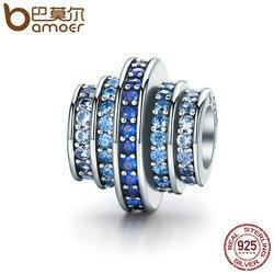 BAMOER натуральная 925 серебро постепенное изменение Круглый колеса голубая Мелодия Ясно CZ хрустальные подвески подходят Браслеты Jewelry SCC129
