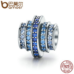 BAMOER Genuine 925 Sterling Silver Gradual Change Round Wheel Blue Melody Clear CZ Crystal Charms fit Bracelets Jewelry SCC129