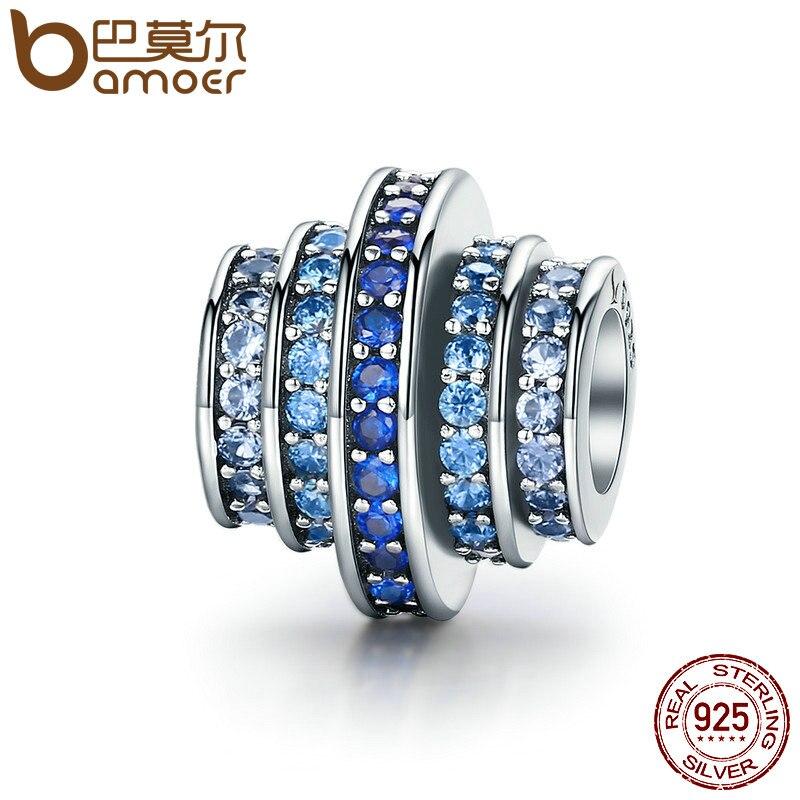 BAMOER genuino 925 plata esterlina cambio Gradual rueda redonda azul melodía clara de cristal de CZ encantos pulseras de joyería SCC129