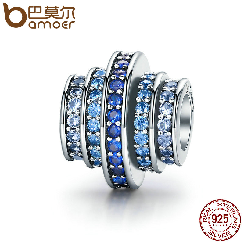 BAMOER Genuine 925 Sterling Silver Gradual Change Blue Clear CZ Crystal Charms Fit Original Bracelets Jewelry