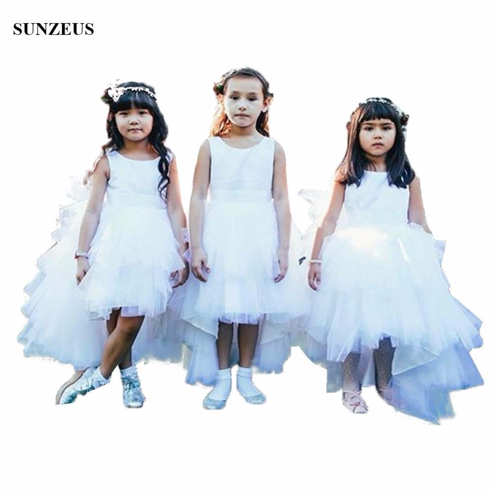 High Low Ruffles Flower Girl Dress Satin Bodice Short Front Long Back Tulle Wedding Party Dress For Children FLG065