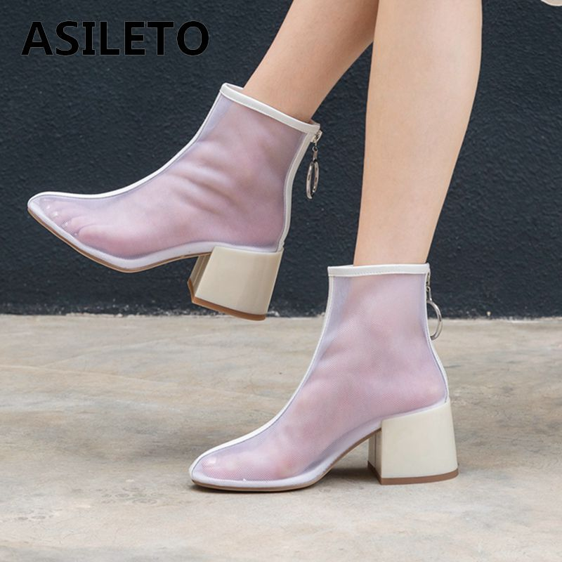 ASILETO 2019 Brand summer Clear transparent Boots mesh breathable ankle boots women zipper 6cm high booties