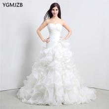 Vestido De Noiva Putih Gaun Perkahwinan Mermaid 2017 Gaun Sudu Menyapu Panjang Gaun Ruffles Pengantin Gaun Pengantin Pengantin