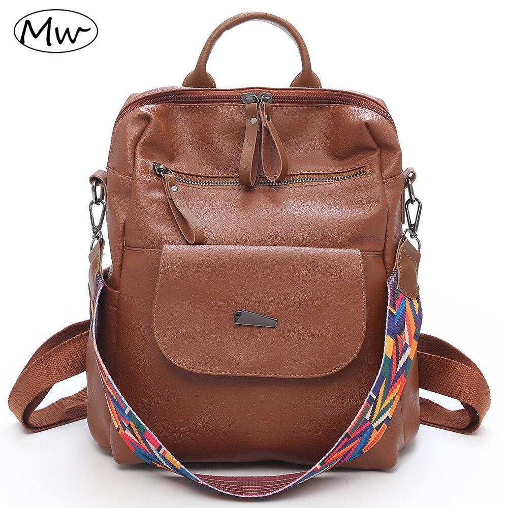 Moon Wood High Quality Women PU Leather Backpack Colorful Wide Strap Shoulder Bag Ladies Travel Tote Backpack Girls School Bag