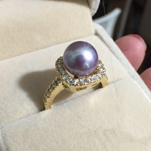Pearl Rings Women Fashion Jewelry Perfectly Roung Aurora Tiny Flaw Purple Romantic Classic Gold Plated Elegant Lady