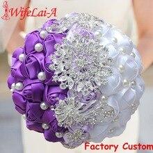 WifeLai A Purple White Crystal Wedding Rose Flowers Diamond Brooch Wedding Bouquets de noiva Crystal Wedding Bouquets W240