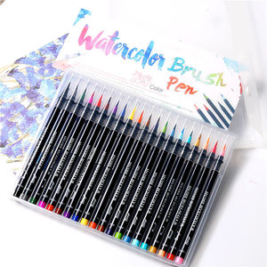 Image 1 - Novo 20 cores premium pintura caneta escova macia definir marcadores de aquarela caneta efeito melhor para colorir livros manga caligrafia comic