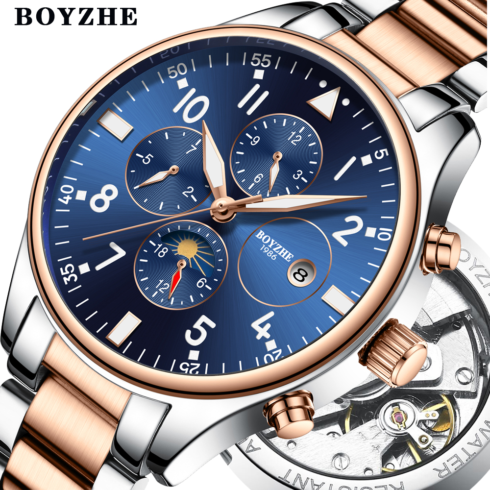 BOYZHE Mens Automatic Mechanical Watch Time Moon Phase Waterproof Luminous hands Casual Military Sport Watches Relogio