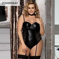 Biancheria delle donne Hot Sexy Lingerie di Pizzo Nero Abbigliamento Erotico Lenceria Babydoll Costumi Intimo Abbigliamento Del Sesso Femminile Più Il Formato