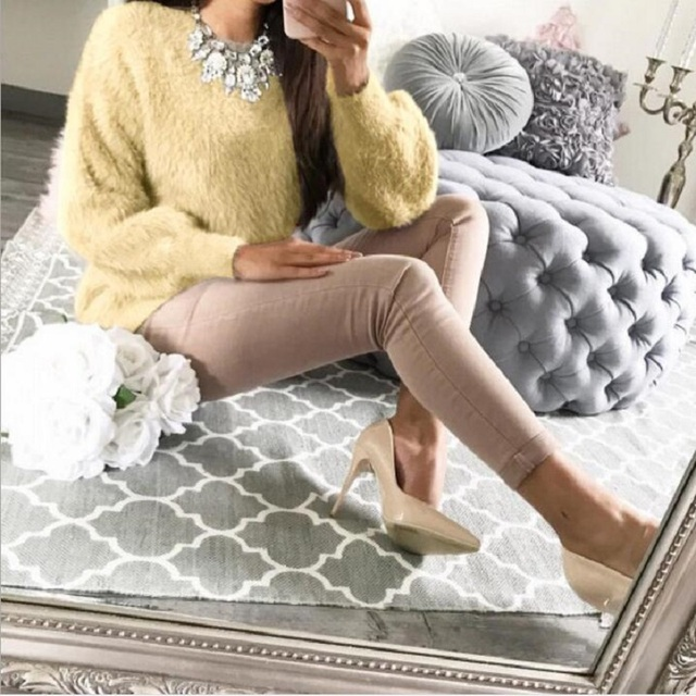 2018 New Warm Winter Velvet Casual Long Sleeve Gray Sweater Female Plush Pullovers Sweaters Autumn Fashion Women Clothes 3