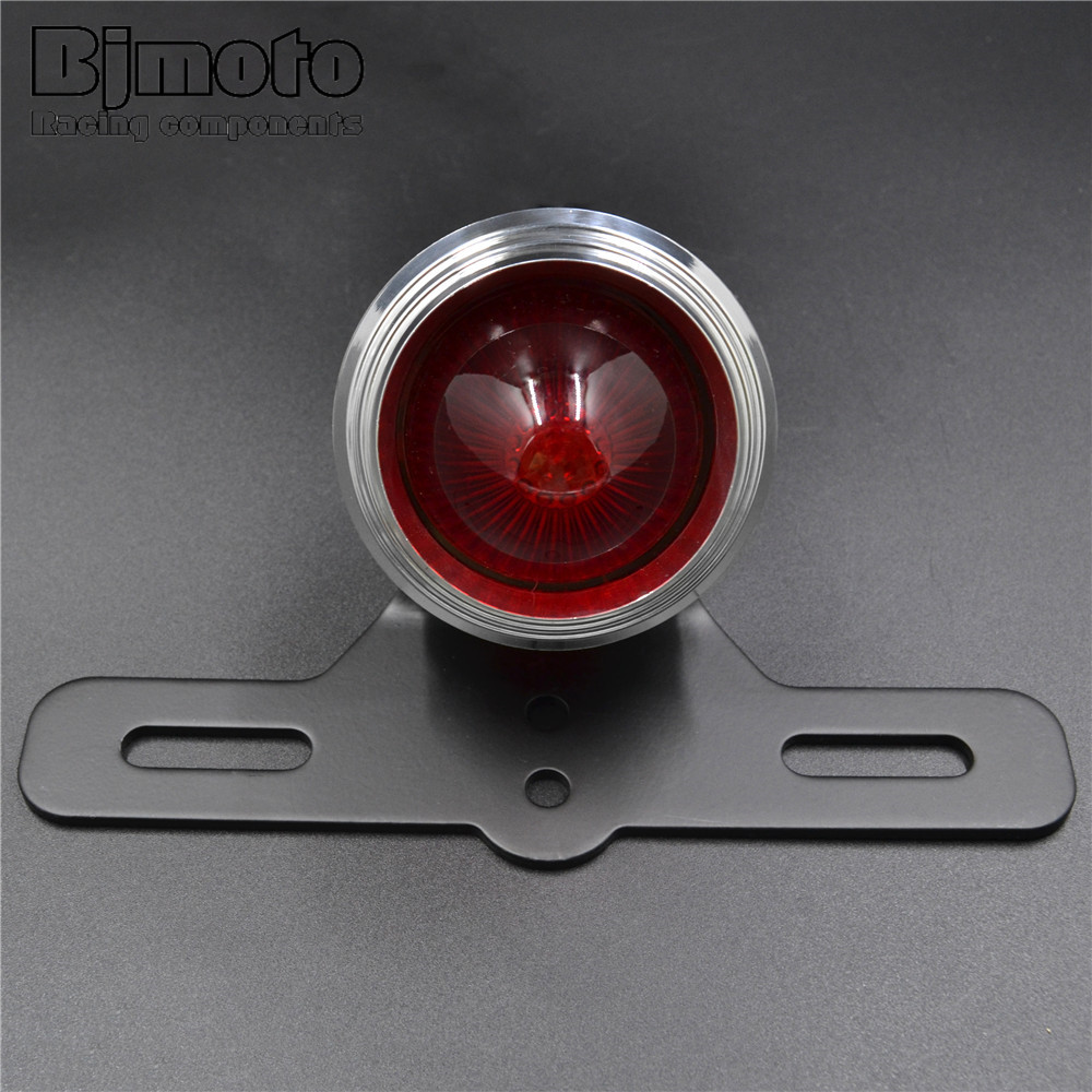 BJMOTO Motorcycle License Plate Bracket with Brake Tail Light Lamp For Harley Choppers Sportster Bobber High Quality
