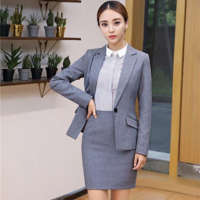 967ba93417 2017 Otoño e Invierno uniforme Formal estilos Blazer con chaquetas y falda  para Mujeres de Negocios