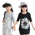 Meninas Camisetas Primavera Comprimento Longo Marca Roupa Das Crianças Pullover Criança Camisa Da Menina do Algodão Ocasional Adolescente Roupas de Menina 6-14 DIDIOO