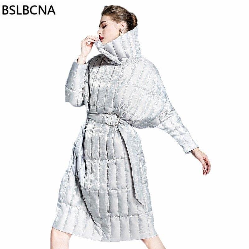 Più il Formato Allentato Bianco Anatra Imbottiture Vestiti 2018 Giacca Invernale Donne di Mezza Lungo Tempo di Stand Collare Dell'annata di Modo Europeo Cappotto Femminile a522