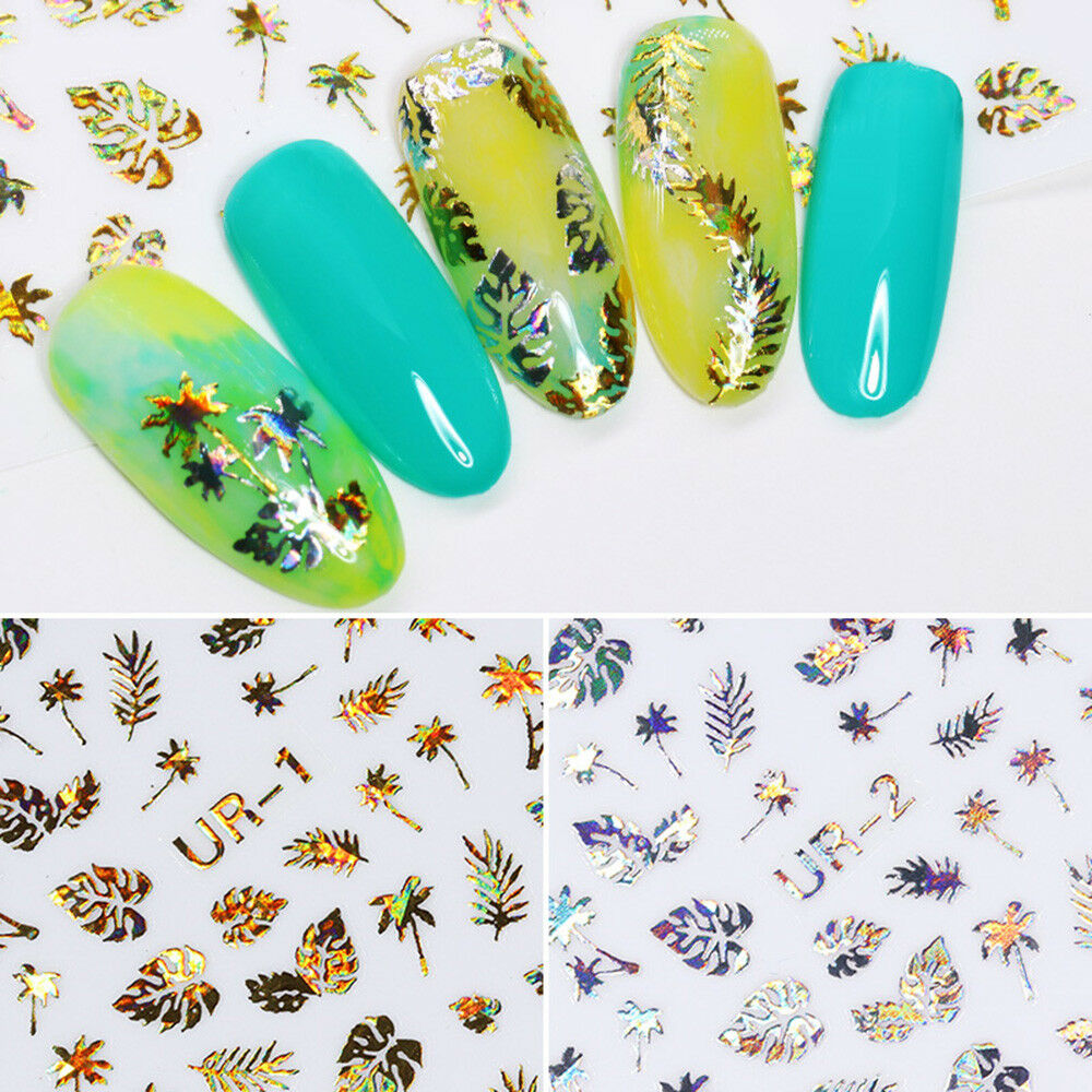 Image 3 - New 1 Sheet Holographic Gold 3D Nail Sticker Coconut Tree Leaf Holo Laser Adhesive Decal Sticker Manicure Nail Art Decoration-in Stickers & Decals from Beauty & Health