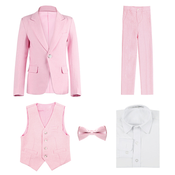 High quality Children's suit pink spring and autumn Korean boy suit suit student costumes children wedding flower girl dress boy