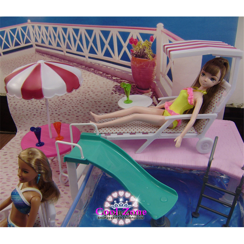 Miniature Furniture Summer Resort For Barbie Doll House Pretend Play