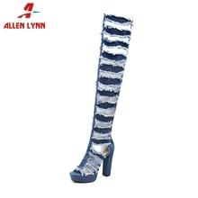 ALLENLYNN New Sexy Over The Knee Thigh High Summer Boots Women 2019 Fashion Platform Denim Shoes Heels Woman