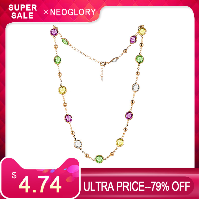 Neoglory Crystal Colorful Round Beads Long Charm Necklace Classic Two Uses Dress Party Embellished With Crystals From SwarovskiNeoglory Crystal Colorful Round Beads Long Charm Necklace Classic Two Uses Dress Party Embellished With Crystals From Swarovski