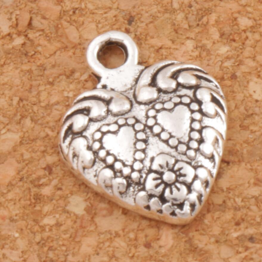 Double Dots Heart Charm Beads 11.3x15.1mm 52pcs Antique Silver Pendants Fashion Jewelry DIY L907