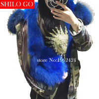 HOT Free shipping 2017 winter new fashion women high quality raccoon fur collar blue fox fur Army Green Camo loose parka &XL