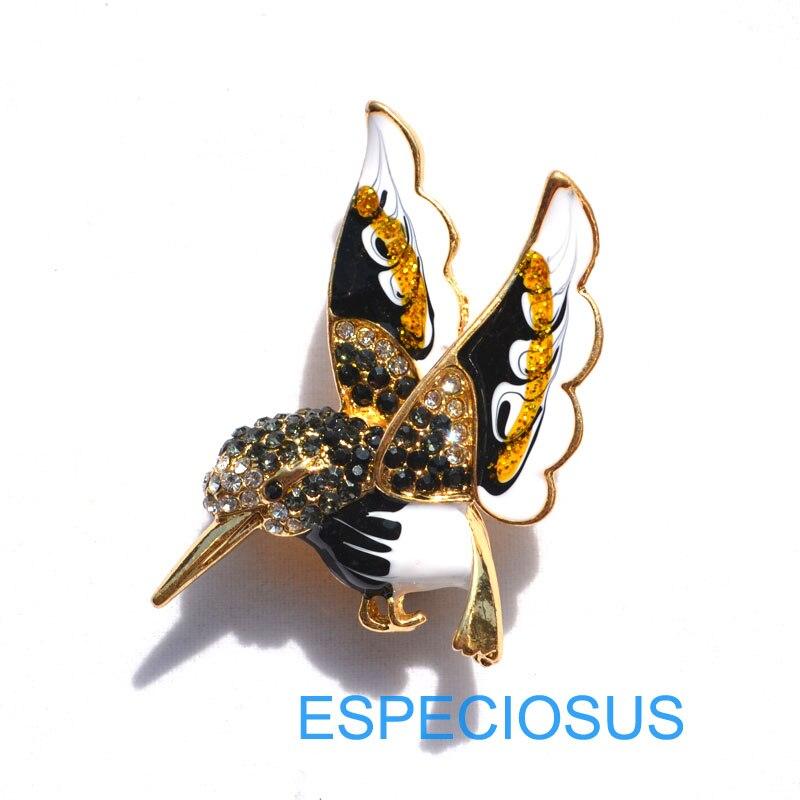 Элегантная булавка золотого цвета, Женская Брошь, стразы, подарки, мультфильм, жужжащая птица, нагрудная булавка, аксессуары, ювелирные изделия, четыре цвета, окрашенные - Окраска металла: black