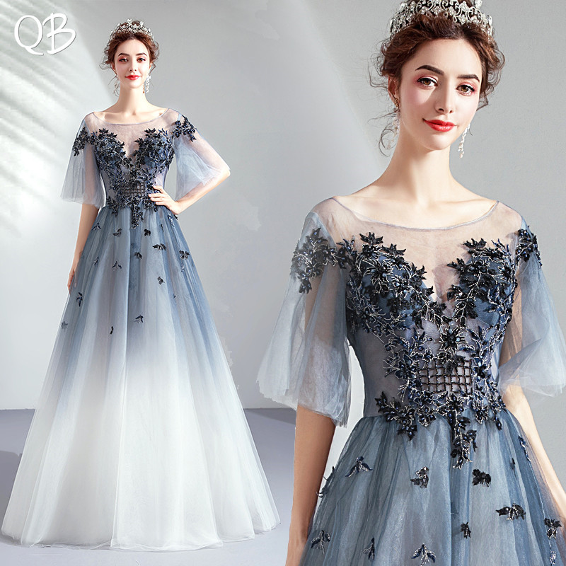 Blue   Evening     Dresses   A-line Floor Length Tulle Lace Appliques Flowers Bride Elegant Long Formal Party Prom   Dress   SD09