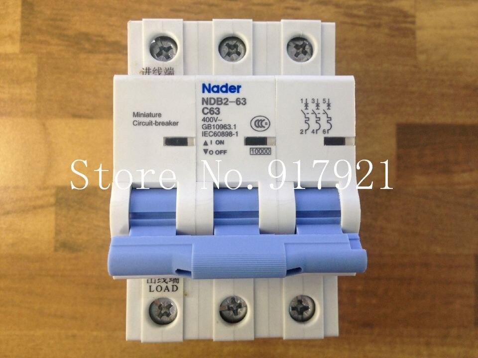 [ZOB] The letter NDB2-63 Nader genuine new C63 mini circuit breaker 3P63A air switch --5pcs/lot