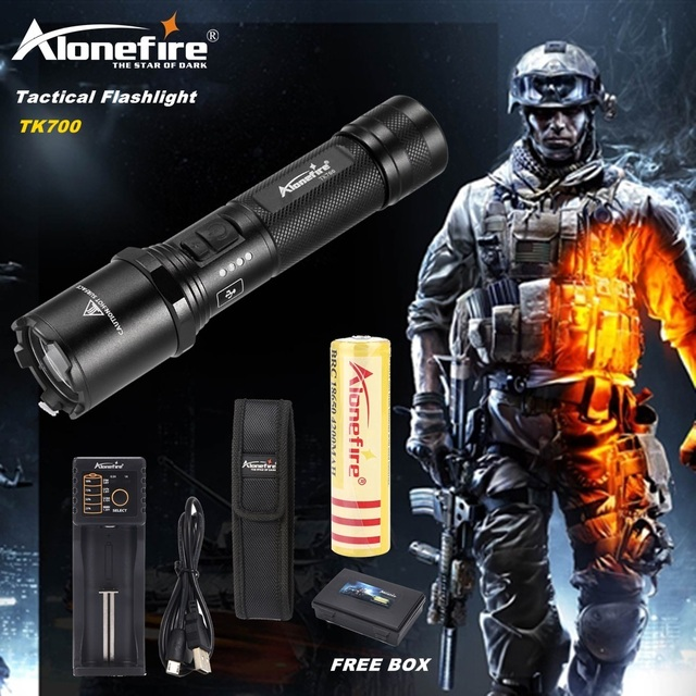 AloneFire TK700 CREE XM-L2 led flashlight USB rechargeable led torch tactical lamp lantern Self-defense police flash light