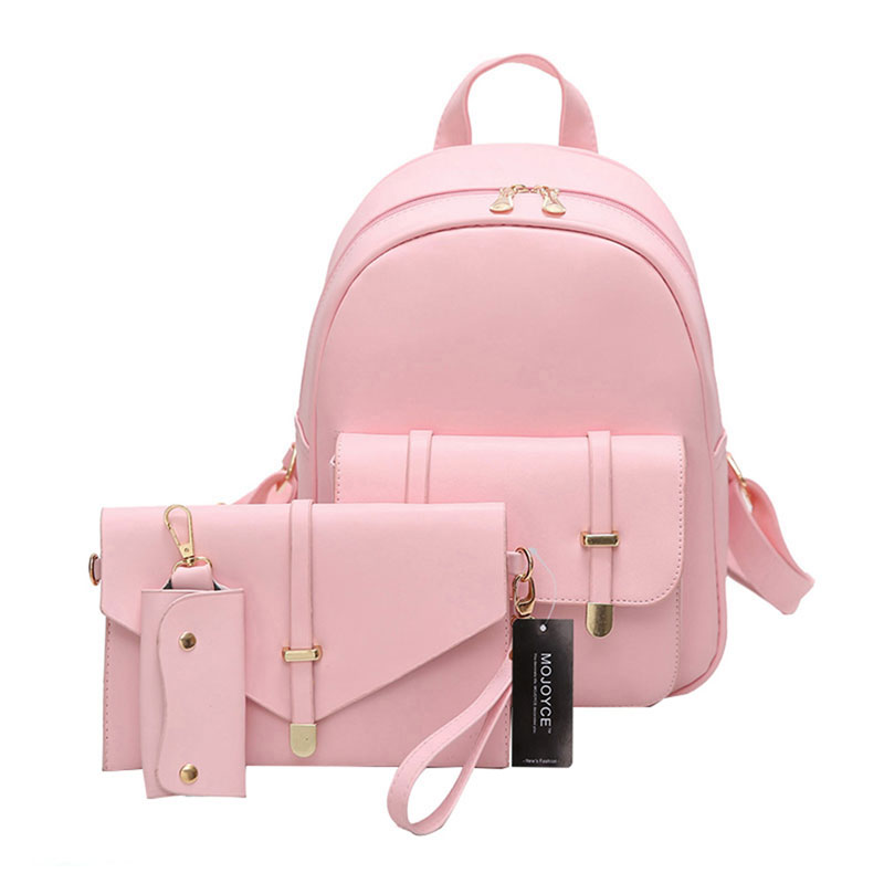 3pcs Women PU Leather Backpack Cute 3 Sets Bag School Bags for Teenage Girls Black Shoulder Bag Women Backpack Set Sac aelicy 3 colors 2pcs set luxury new women fashion backpack with purse bag pu leather backpack women school bags for girls 0927