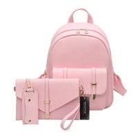 3pcs Women PU Leather Backpack Cute 3 Sets Bag School Bags For Teenage Girls Black