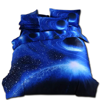 Moon Star Galaxy Space Bedding Set Queen Size 4pc Duvet Cover Set With Bedsheet Pillowcases