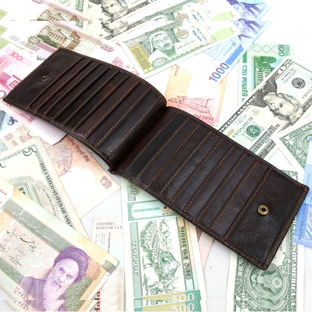 100% Cowhide Man Card Holder Euro Fashion Wallets Simple Design Genuine Leather Wallet Mens Card Clutch Many Card Pockets