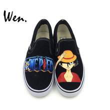 Wen Design Hand Painted Shoes Anime One Piece Monkey D. Luffy Slip On Canvas Shoes Custom Sports Sneakers Boys Girls Presents