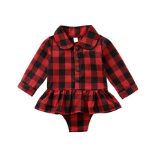 Red Plaid Newborn Infant Baby Girl Long Sleeve Cotton Body Suit Tutu Skirted Bodysuit Jumpsuit Outfits Baby Clothes 0-24M(China)