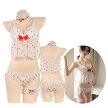 Japanese Kawaii Sexy Lolita strawberry chiffon lingerie Cosplay Sleepwear Women Girl Bra Underwear Leg ring intimate
