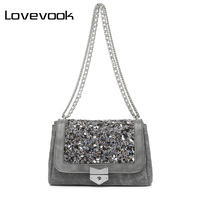 LOVEVOOK Brand Chain Shoulder Bag Female Fashion Canvas Handbags Women Famous Brands Messenger Bags With High