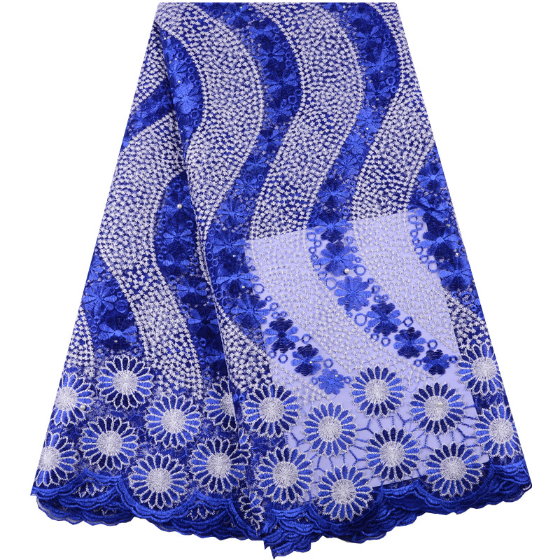 Cheap Royal Blue African Tulle Lace 2019 High Quality French Nigerian Net Lace Fabrics With Rhinestones